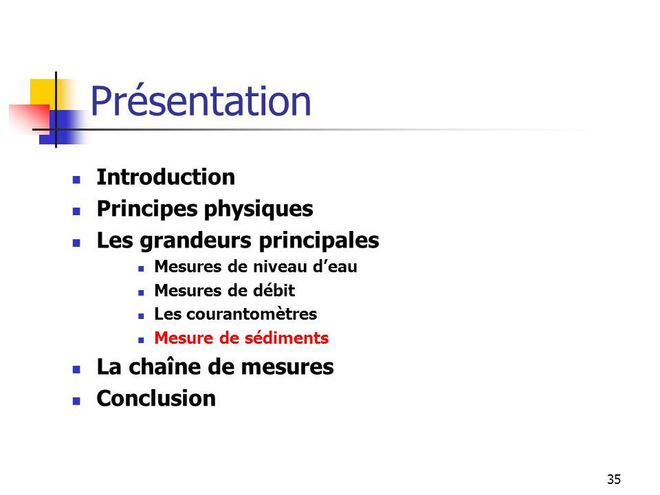 35 Introduction Principes physiques Les grandeurs principales Mesures de niveau deau Mesures de débit Les courantomètres Mesure de sédiments La chaîne