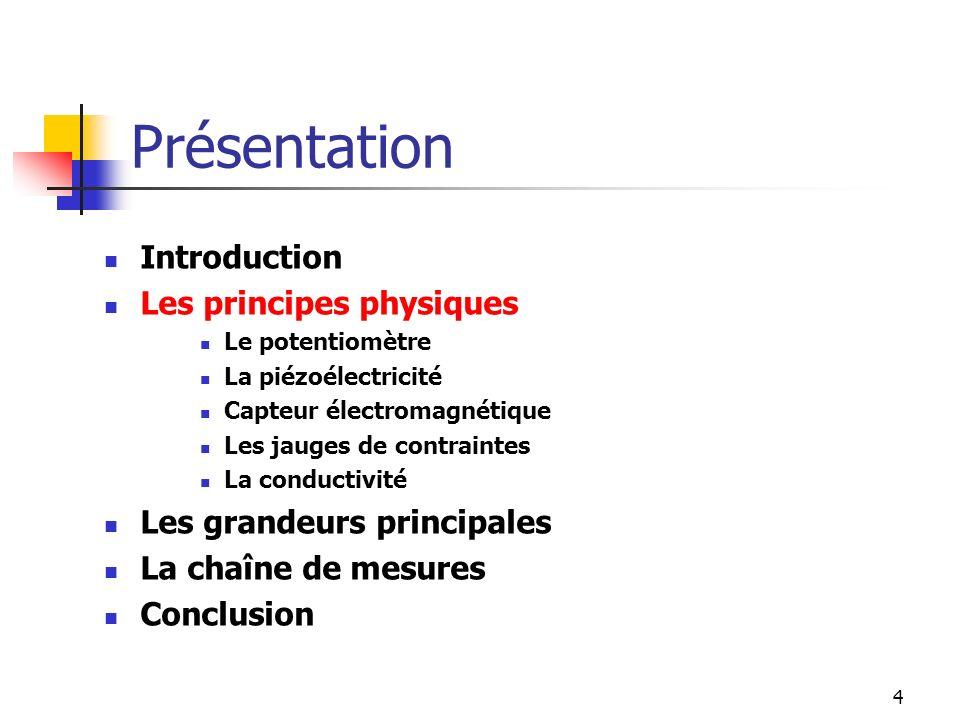 4 Introduction Les principes physiques Le potentiomètre La piézoélectricité Capteur électromagnétique Les jauges de contraintes La conductivité Les gr