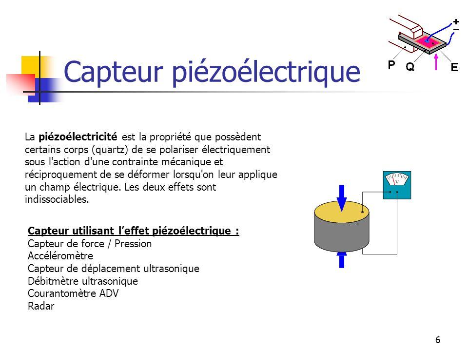 6 Capteur piézoélectrique La piézoélectricité est la propriété que possèdent certains corps (quartz) de se polariser électriquement sous l'action d'un