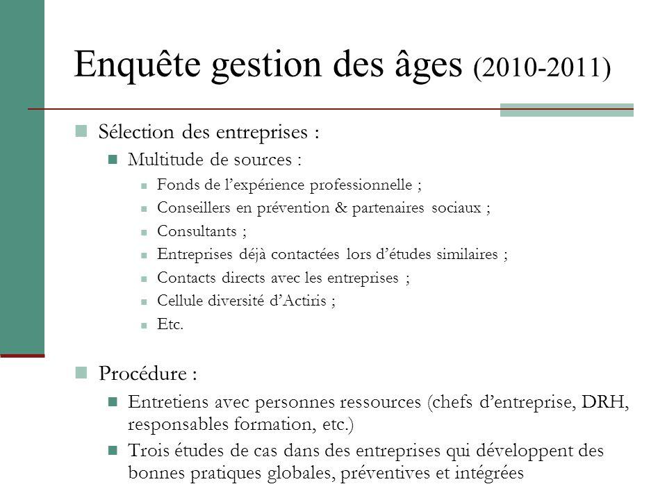 Enquête gestion des âges (2010-2011) Sélection des entreprises : Multitude de sources : Fonds de lexpérience professionnelle ; Conseillers en préventi