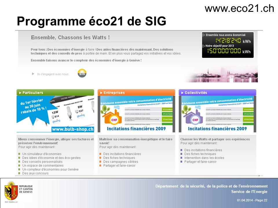 01.04.2014 - Page 22 Service de l Energie Département de la sécurité, de la police et de l environnement Programme éco21 de SIG www.eco21.ch