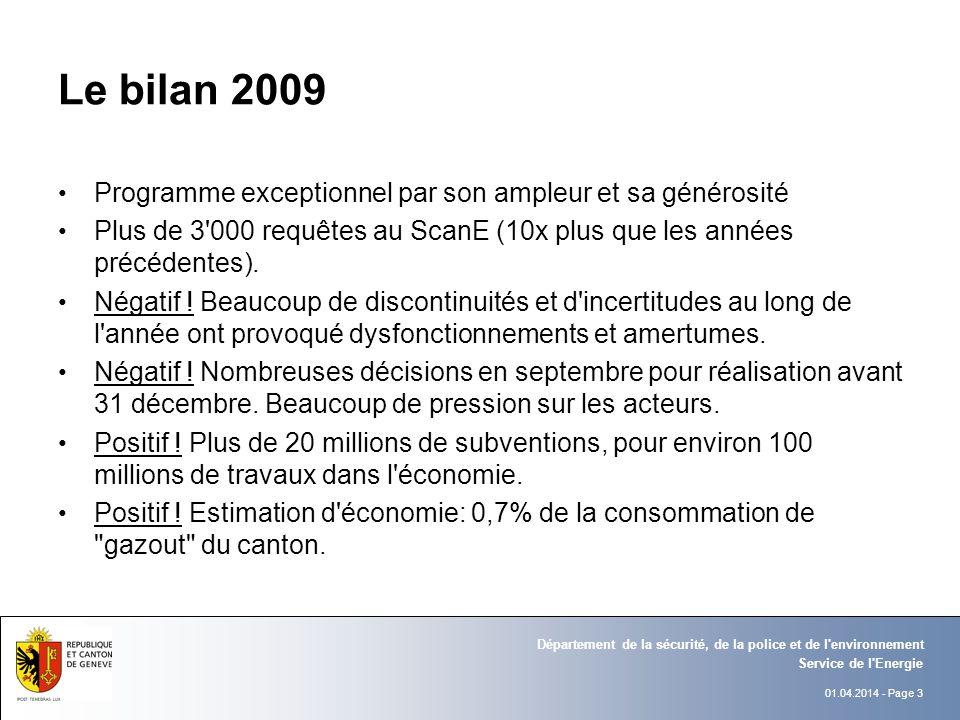01.04.2014 - Page 3 Service de l Energie Département de la sécurité, de la police et de l environnement Le bilan 2009 Programme exceptionnel par son ampleur et sa générosité Plus de 3 000 requêtes au ScanE (10x plus que les années précédentes).