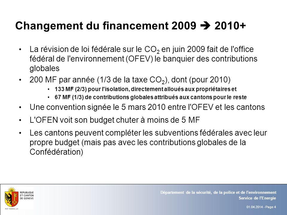 01.04.2014 - Page 4 Service de l Energie Département de la sécurité, de la police et de l environnement Changement du financement 2009 2010+ La révision de loi fédérale sur le CO 2 en juin 2009 fait de l office fédéral de l environnement (OFEV) le banquier des contributions globales 200 MF par année (1/3 de la taxe CO 2 ), dont (pour 2010) 133 MF (2/3) pour l isolation, directement alloués aux propriétaires et 67 MF (1/3) de contributions globales attribués aux cantons pour le reste Une convention signée le 5 mars 2010 entre l OFEV et les cantons L OFEN voit son budget chuter à moins de 5 MF Les cantons peuvent compléter les subventions fédérales avec leur propre budget (mais pas avec les contributions globales de la Confédération)
