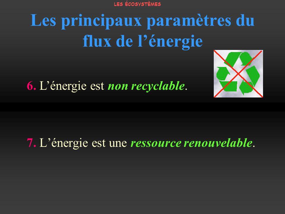 Les principaux paramètres du flux de lénergie 7. Lénergie est une ressource renouvelable. 6. Lénergie est non recyclable. LES ÉCOSYSTÈMES