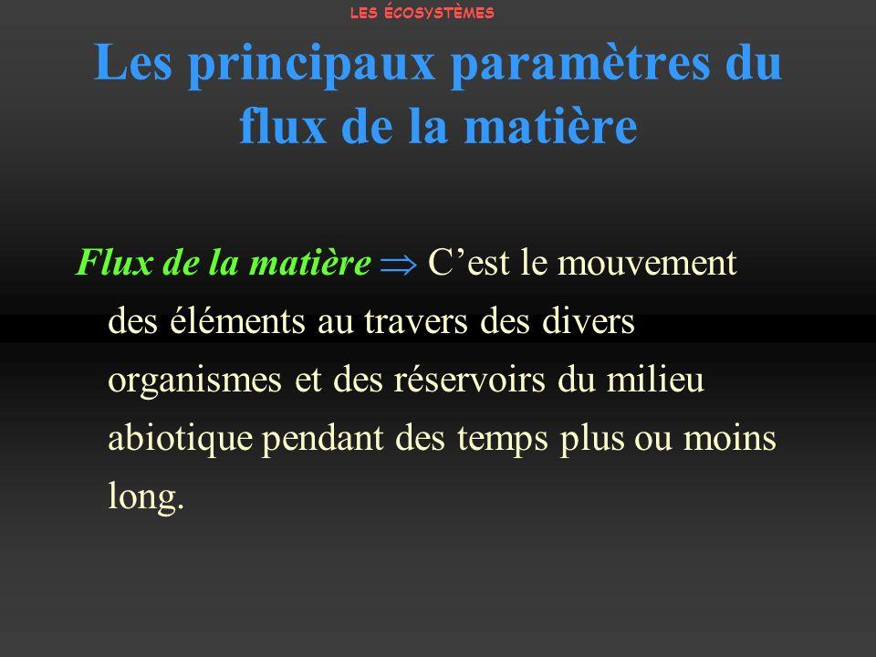 Les principaux paramètres du flux de la matière Flux de la matière Cest le mouvement des éléments au travers des divers organismes et des réservoirs d