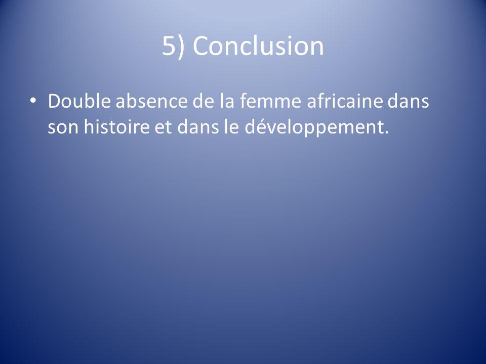 5) Conclusion Double absence de la femme africaine dans son histoire et dans le développement.
