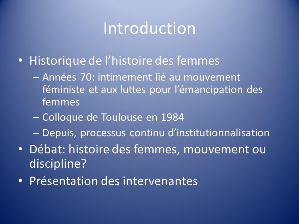 Bibliographie Ouvrages et thèses : Coquery-Vidrovitch, Catherine, « Des femmes colonisé aux femmes de lindépendance » in Thèrèse Locoh (dir.) Genre et sociétés en Afrique, Paris : INED, 2007 Formaglio, Cécile, « Le féminisme de Cécile Brunschvicg (1877-1946) », thèse soutenue en 2006, URL : http://theses.enc.sorbonne.fr/document1020.htmlhttp://theses.enc.sorbonne.fr/document1020.html Perrot, Michelle, Mon histoire des femmes, Paris : Seuil, 2006.