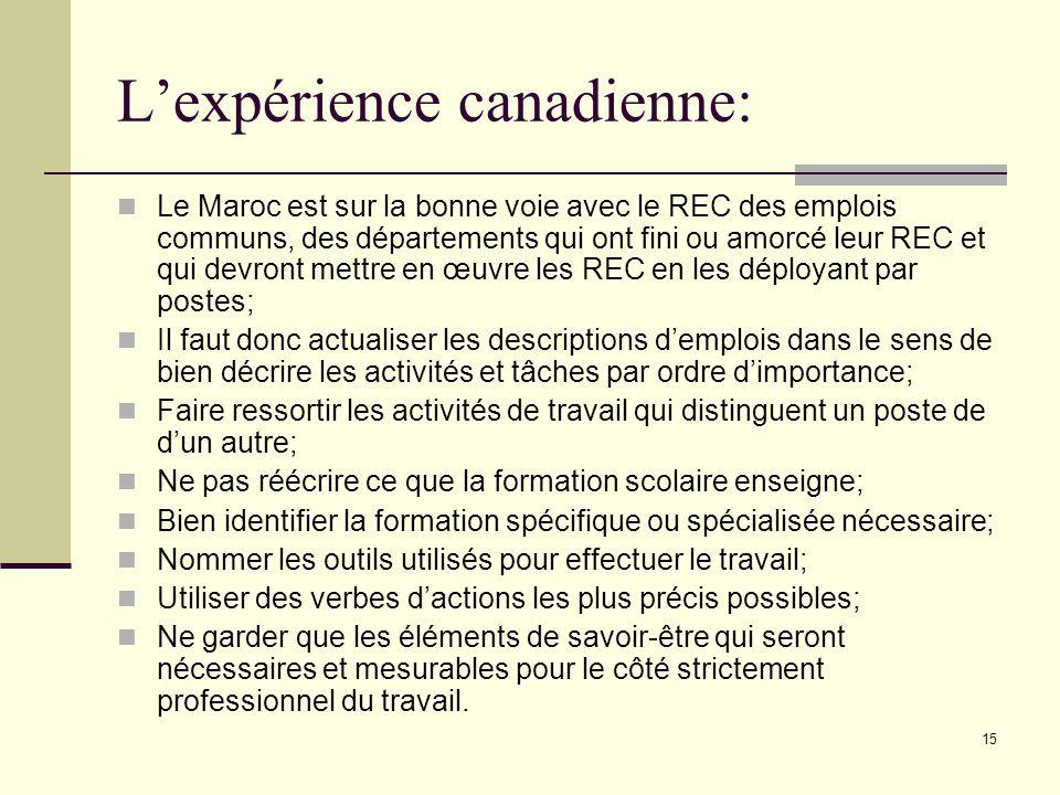 15 Lexpérience canadienne: Le Maroc est sur la bonne voie avec le REC des emplois communs, des départements qui ont fini ou amorcé leur REC et qui dev