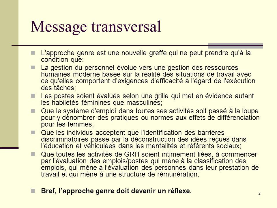 2 Message transversal Lapproche genre est une nouvelle greffe qui ne peut prendre quà la condition que: La gestion du personnel évolue vers une gestio