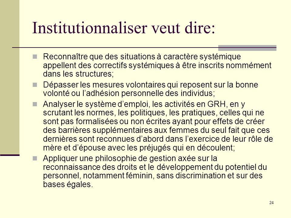 24 Institutionnaliser veut dire: Reconnaître que des situations à caractère systémique appellent des correctifs systémiques à être inscrits nommément