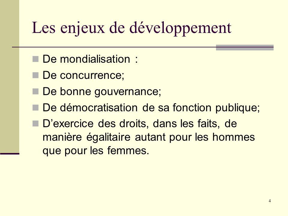 4 Les enjeux de développement De mondialisation : De concurrence; De bonne gouvernance; De démocratisation de sa fonction publique; Dexercice des droi