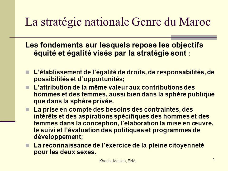 5 La stratégie nationale Genre du Maroc Les fondements sur lesquels repose les objectifs équité et égalité visés par la stratégie sont : Létablissemen
