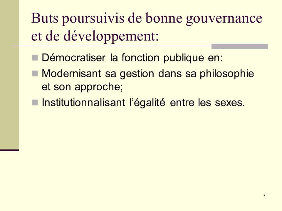 7 Buts poursuivis de bonne gouvernance et de développement: Démocratiser la fonction publique en: Modernisant sa gestion dans sa philosophie et son ap