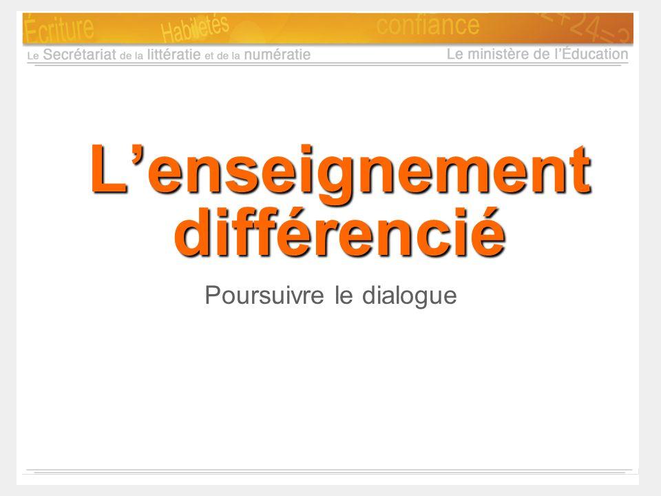 Lenseignement différencié Poursuivre le dialogue