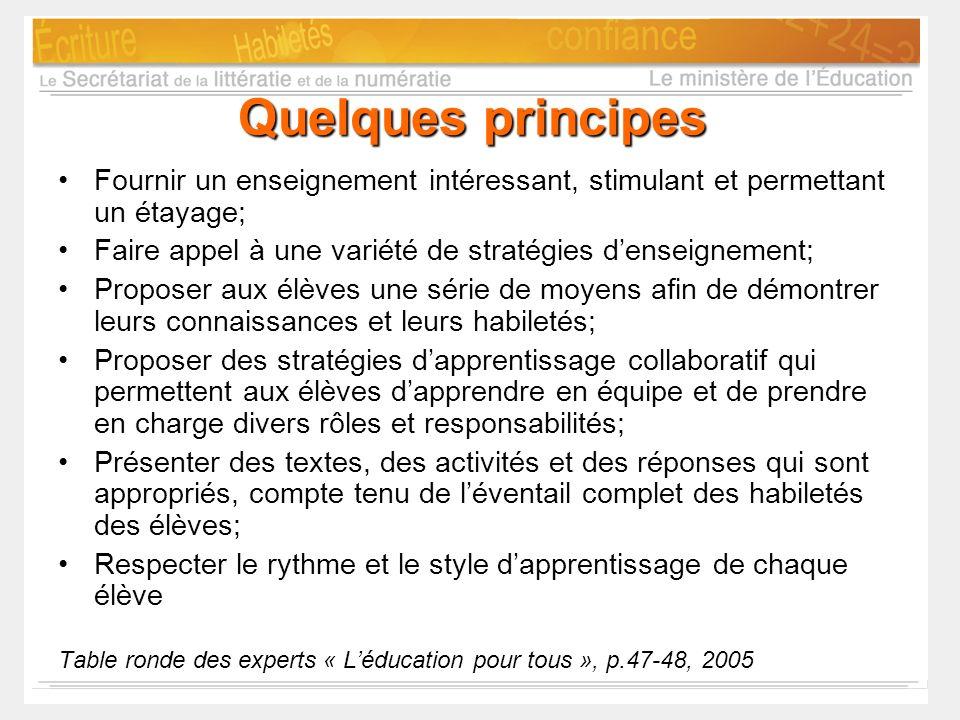 Quelques principes Fournir un enseignement intéressant, stimulant et permettant un étayage; Faire appel à une variété de stratégies denseignement; Pro
