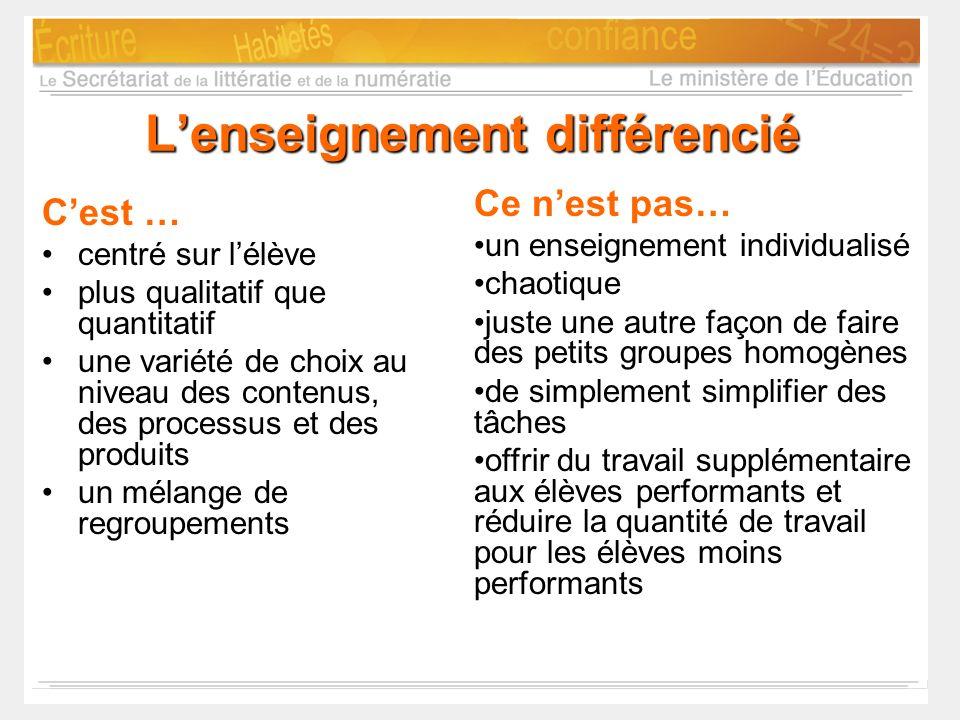 Lenseignement différencié Cest … centré sur lélève plus qualitatif que quantitatif une variété de choix au niveau des contenus, des processus et des p