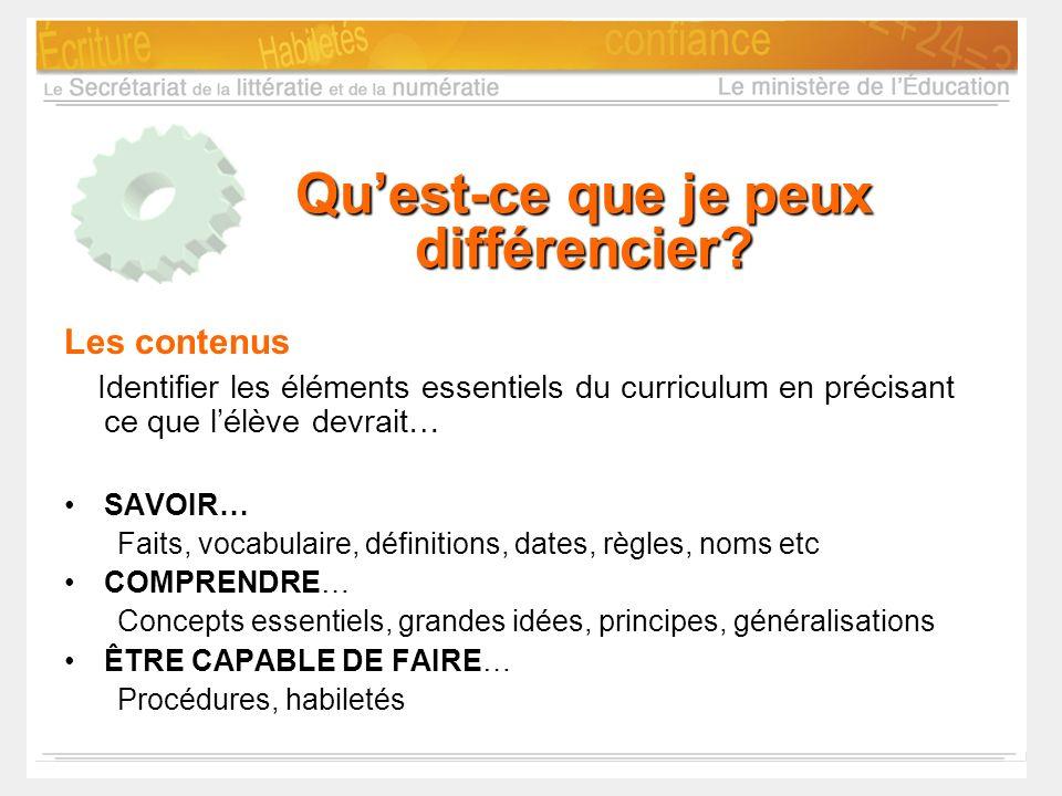 Quest-ce que je peux différencier? Les contenus Identifier les éléments essentiels du curriculum en précisant ce que lélève devrait… SAVOIR… Faits, vo