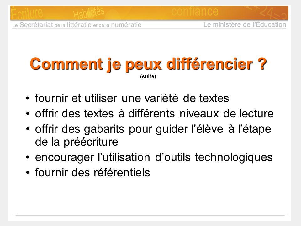 Comment je peux différencier ? Comment je peux différencier ? (suite) fournir et utiliser une variété de textes offrir des textes à différents niveaux