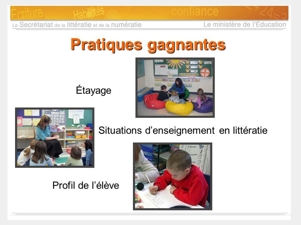 Pratiques gagnantes Étayage Situations denseignement en littératie Profil de lélève