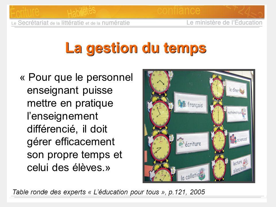 La gestion du temps « Pour que le personnel enseignant puisse mettre en pratique lenseignement différencié, il doit gérer efficacement son propre temp