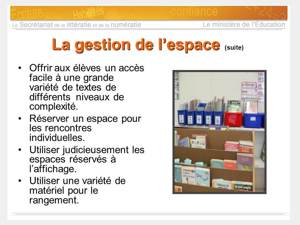 La gestion de lespace (suite) Offrir aux élèves un accès facile à une grande variété de textes de différents niveaux de complexité. Réserver un espace