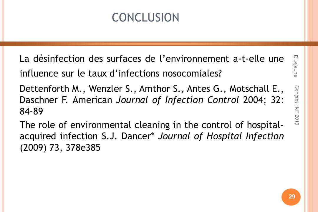 CONCLUSION La désinfection des surfaces de lenvironnement a-t-elle une influence sur le taux dinfections nosocomiales? Dettenforth M., Wenzler S., Amt