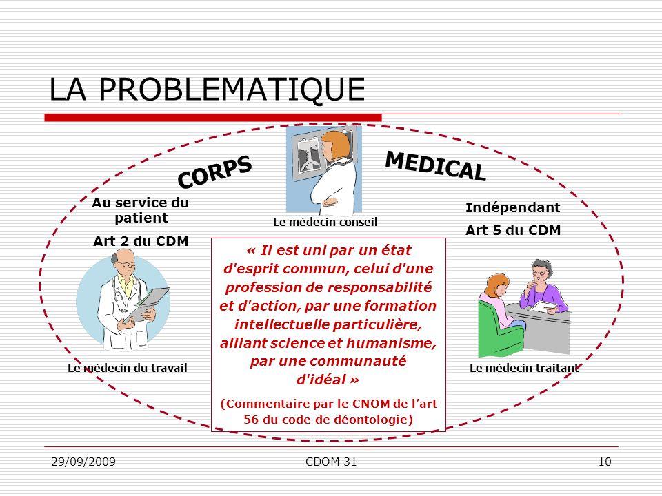 29/09/2009CDOM 3110 Le médecin conseil Le médecin traitantLe médecin du travail LA PROBLEMATIQUE « Il est uni par un état d'esprit commun, celui d'une