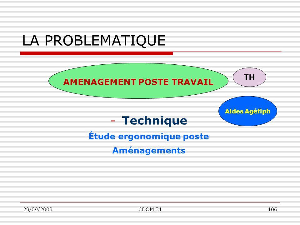 29/09/2009CDOM 31106 -Technique Étude ergonomique poste Aménagements LA PROBLEMATIQUE AMENAGEMENT POSTE TRAVAIL Aides Agéfiph TH