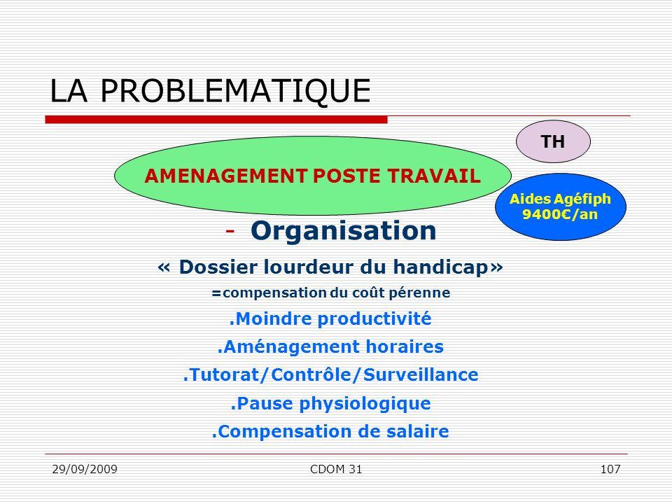 29/09/2009CDOM 31107 -Organisation « Dossier lourdeur du handicap» =compensation du coût pérenne.Moindre productivité.Aménagement horaires.Tutorat/Con