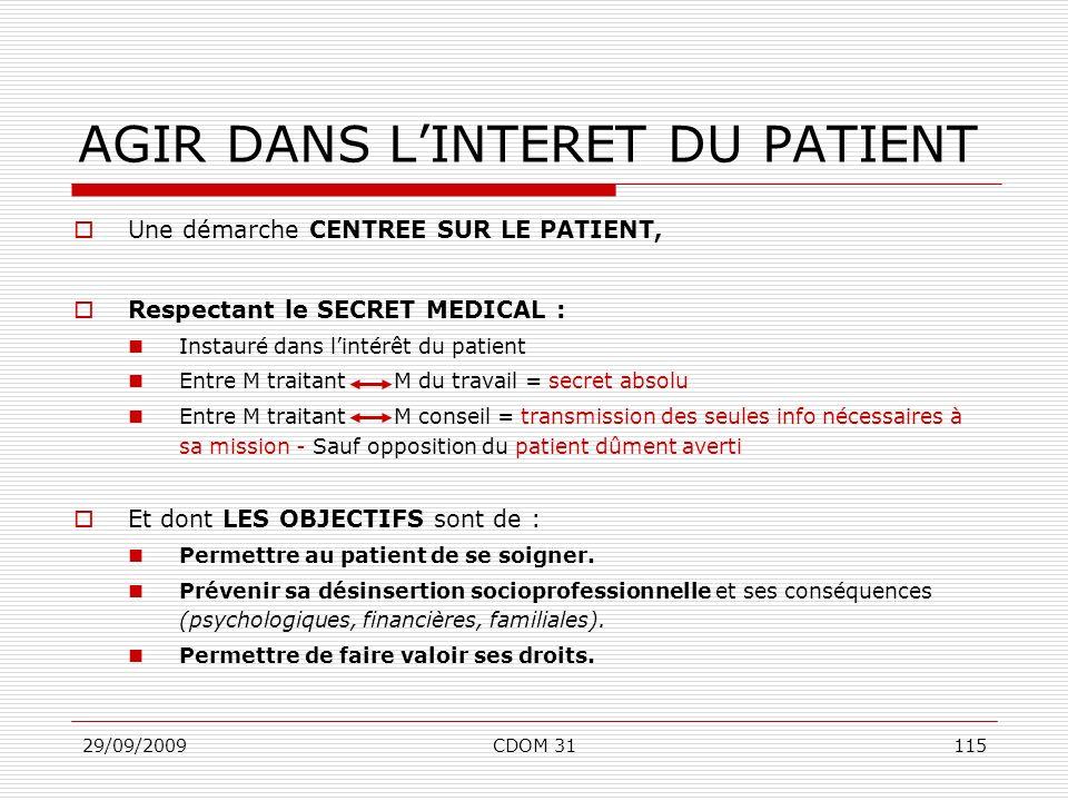 29/09/2009CDOM 31115 AGIR DANS LINTERET DU PATIENT Une démarche CENTREE SUR LE PATIENT, Respectant le SECRET MEDICAL : Instauré dans lintérêt du patie