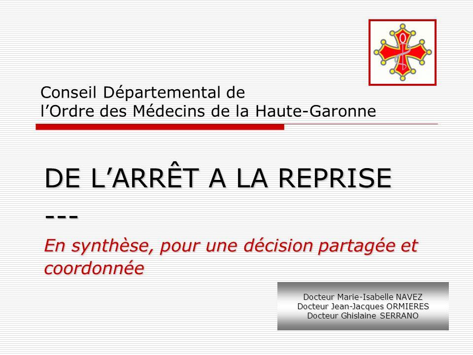Conseil Départemental de lOrdre des Médecins de la Haute-Garonne DE LARRÊT A LA REPRISE --- En synthèse, pour une décision partagée et coordonnée Doct
