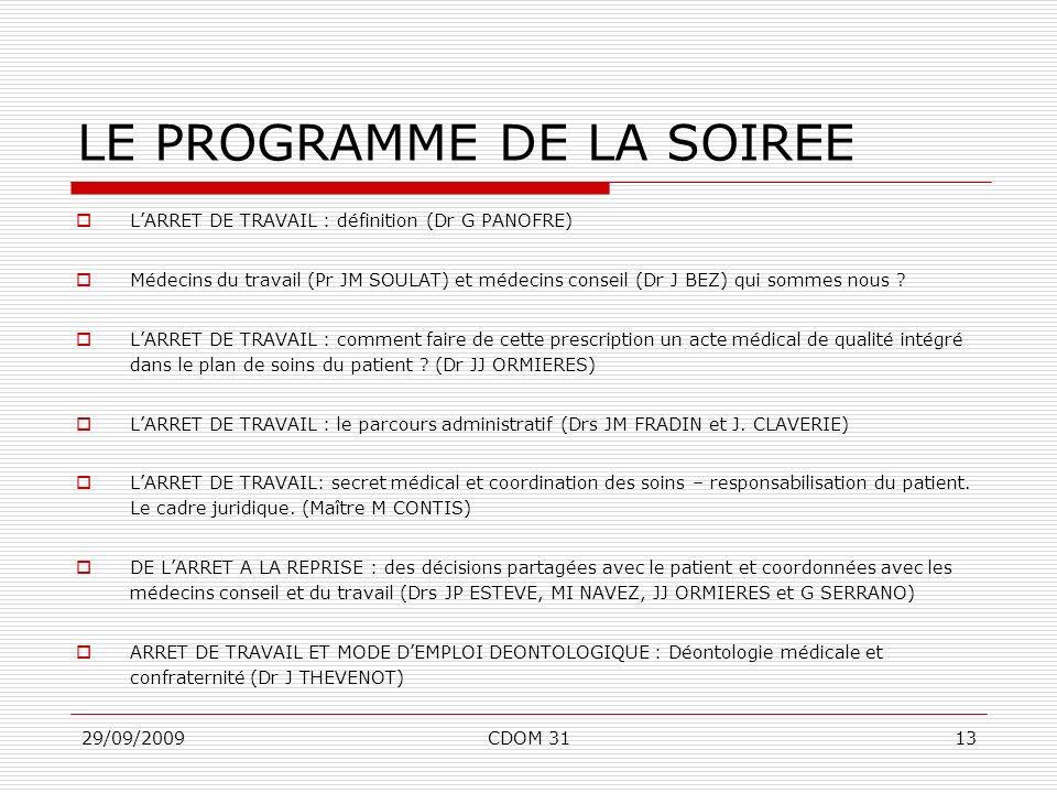 29/09/2009CDOM 3113 LE PROGRAMME DE LA SOIREE LARRET DE TRAVAIL : définition (Dr G PANOFRE) Médecins du travail (Pr JM SOULAT) et médecins conseil (Dr