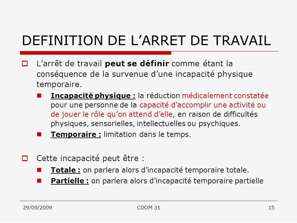 29/09/2009CDOM 3115 DEFINITION DE LARRET DE TRAVAIL Larrêt de travail peut se définir comme étant la conséquence de la survenue dune incapacité physiq