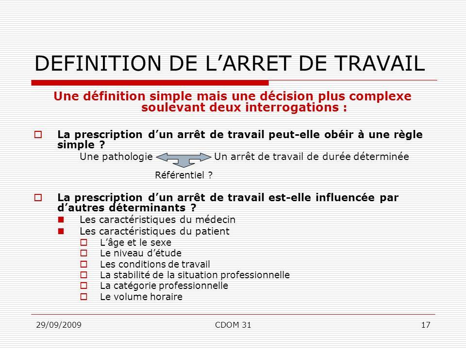 29/09/2009CDOM 3117 DEFINITION DE LARRET DE TRAVAIL Une définition simple mais une décision plus complexe soulevant deux interrogations : La prescript