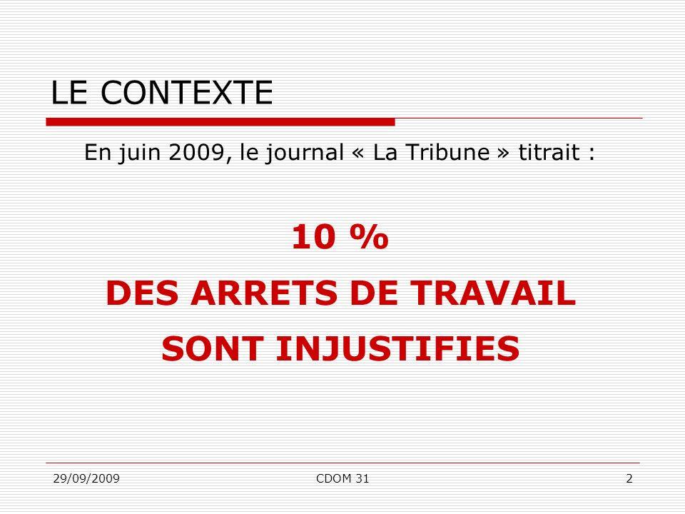 29/09/2009CDOM 312 En juin 2009, le journal « La Tribune » titrait : 10 % DES ARRETS DE TRAVAIL SONT INJUSTIFIES LE CONTEXTE