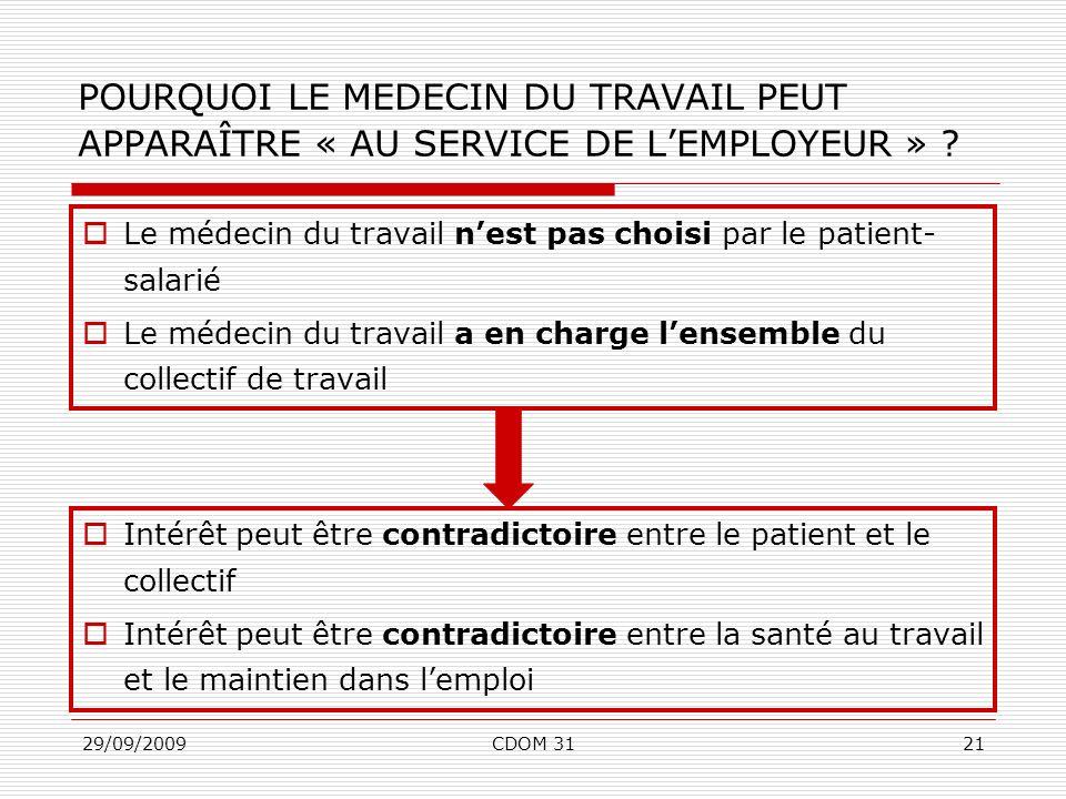29/09/2009CDOM 3121 Le médecin du travail nest pas choisi par le patient- salarié Le médecin du travail a en charge lensemble du collectif de travail