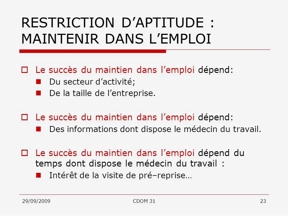 29/09/2009CDOM 3123 RESTRICTION DAPTITUDE : MAINTENIR DANS LEMPLOI Le succès du maintien dans lemploi dépend: Du secteur dactivité; De la taille de le