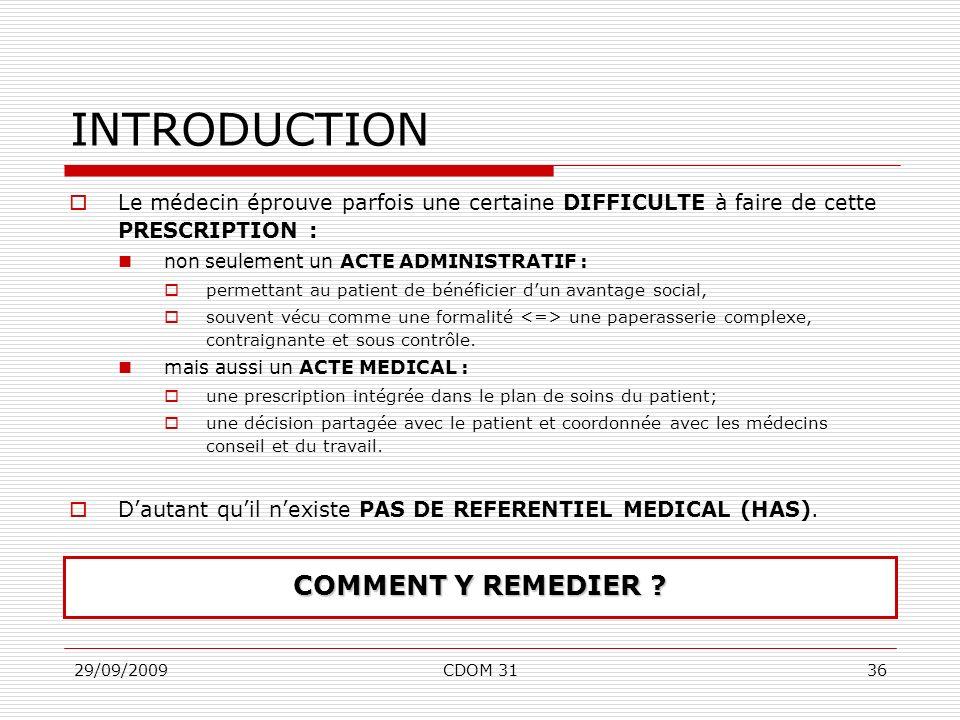 29/09/2009CDOM 3136 INTRODUCTION Le médecin éprouve parfois une certaine DIFFICULTE à faire de cette PRESCRIPTION : non seulement un ACTE ADMINISTRATI