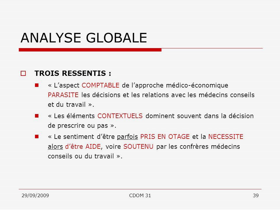 29/09/2009CDOM 3139 ANALYSE GLOBALE TROIS RESSENTIS : « Laspect COMPTABLE de lapproche médico-économique PARASITE les décisions et les relations avec