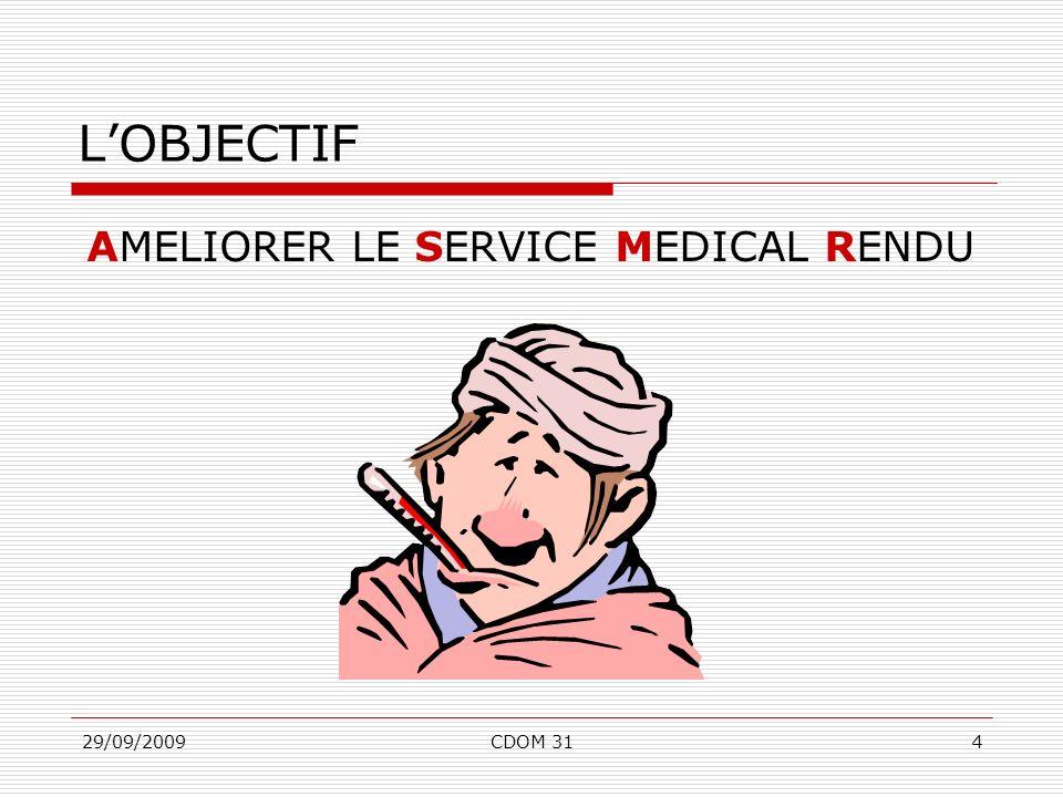 29/09/2009CDOM 314 AMELIORER LE SERVICE MEDICAL RENDU LOBJECTIF