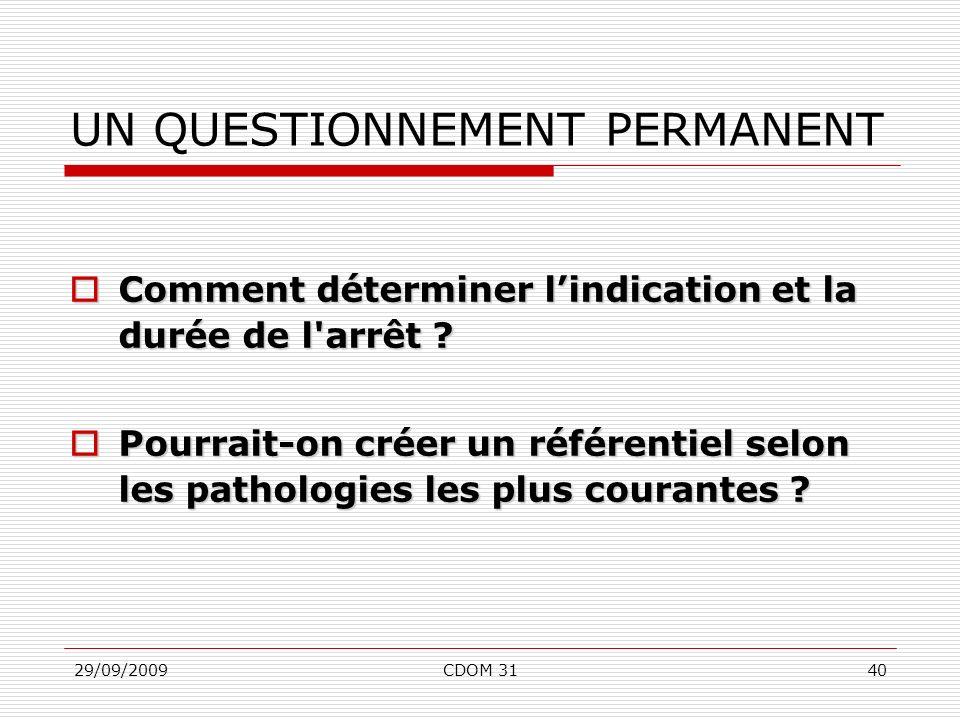 29/09/2009CDOM 3140 UN QUESTIONNEMENT PERMANENT Comment déterminer lindication et la durée de l'arrêt ? Comment déterminer lindication et la durée de