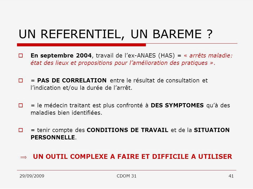 29/09/2009CDOM 3141 UN REFERENTIEL, UN BAREME ? En septembre 2004, travail de lex-ANAES (HAS) = « arrêts maladie: état des lieux et propositions pour