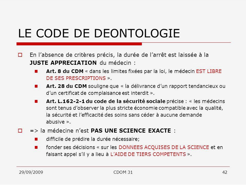 29/09/2009CDOM 3142 LE CODE DE DEONTOLOGIE En labsence de critères précis, la durée de larrêt est laissée à la JUSTE APPRECIATION du médecin : Art. 8