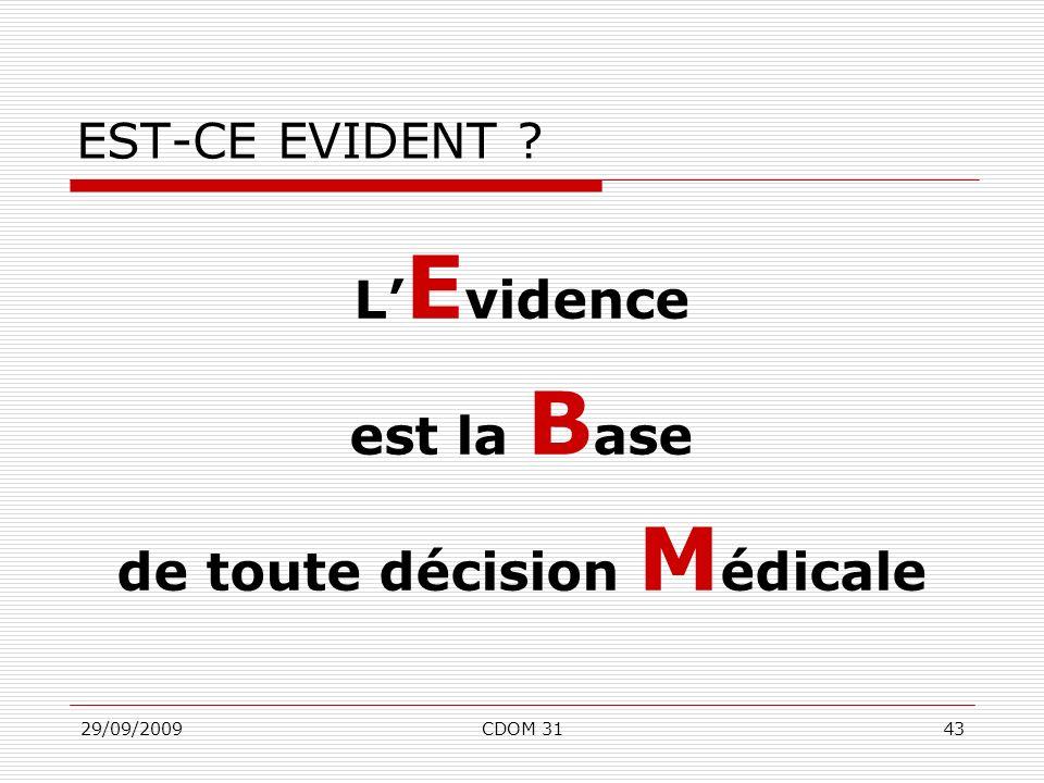 29/09/2009CDOM 3143 EST-CE EVIDENT ? L E vidence est la B ase de toute décision M édicale