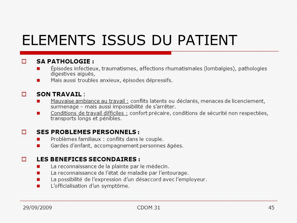 29/09/2009CDOM 3145 ELEMENTS ISSUS DU PATIENT SA PATHOLOGIE : Épisodes infectieux, traumatismes, affections rhumatismales (lombalgies), pathologies di