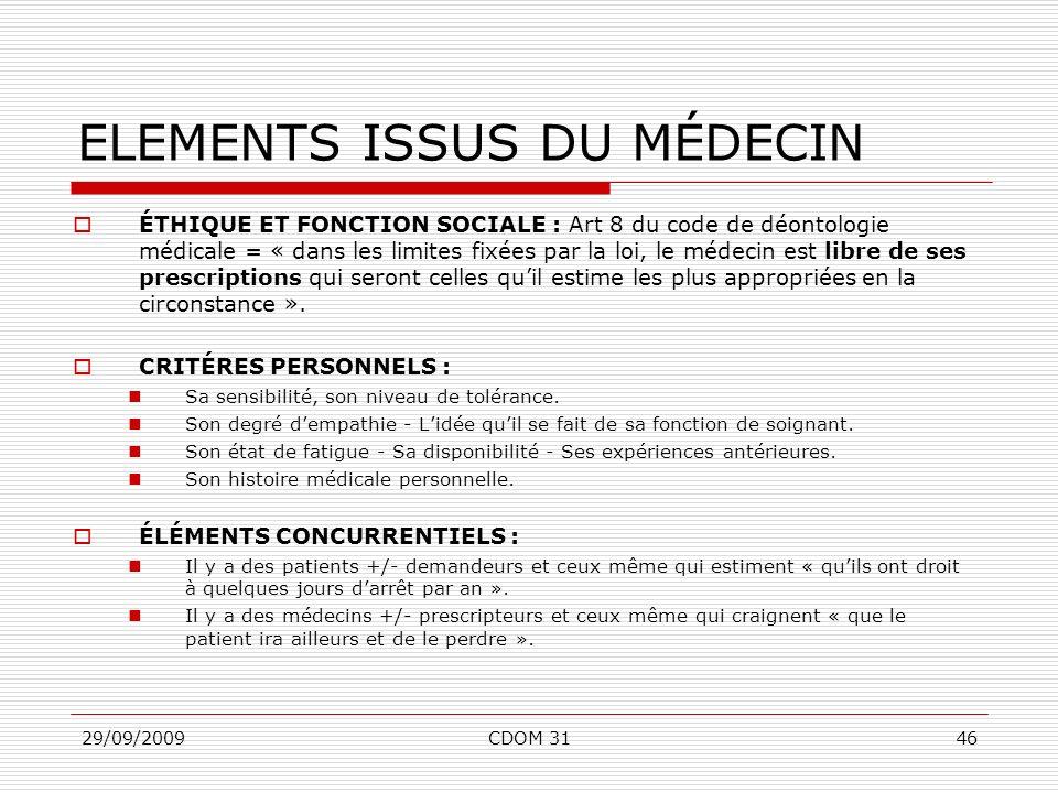 29/09/2009CDOM 3146 ELEMENTS ISSUS DU MÉDECIN ÉTHIQUE ET FONCTION SOCIALE : Art 8 du code de déontologie médicale = « dans les limites fixées par la l