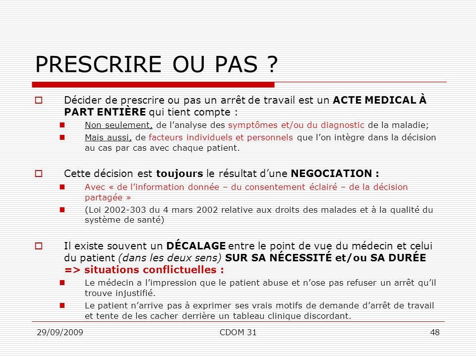 29/09/2009CDOM 3148 PRESCRIRE OU PAS ? Décider de prescrire ou pas un arrêt de travail est un ACTE MEDICAL À PART ENTIÈRE qui tient compte : Non seule