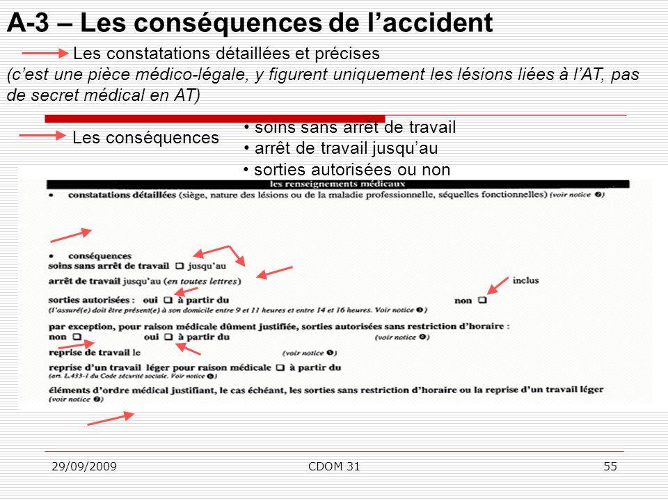 29/09/2009CDOM 3155 A-3 – Les conséquences de laccident sorties autorisées ou non Les constatations détaillées et précises (cest une pièce médico-léga
