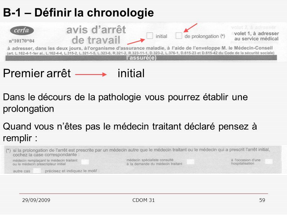 29/09/2009CDOM 3159 B-1 – Définir la chronologie Premier arrêtinitial Dans le décours de la pathologie vous pourrez établir une prolongation Quand vou