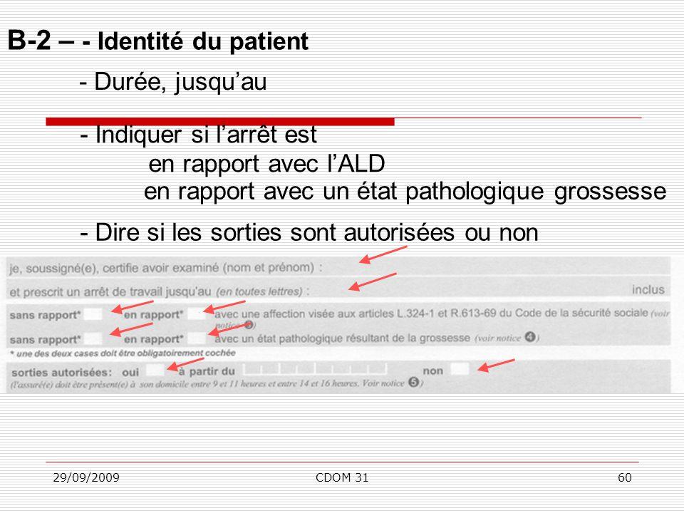 29/09/2009CDOM 3160 B-2 – - Identité du patient - Durée, jusquau - Indiquer si larrêt est en rapport avec lALD - Dire si les sorties sont autorisées o